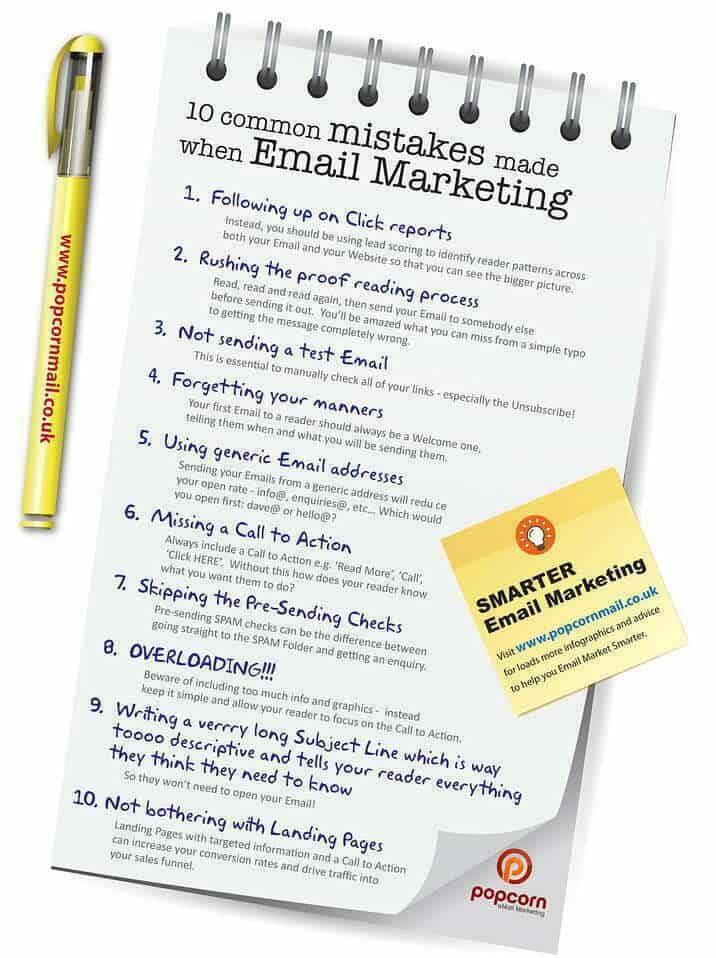 10 common mistakes made when Email Marketing